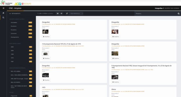 Página de resultados do ArqScouts